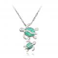 necklace turtle blue opal