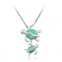 necklace turtle blue opal