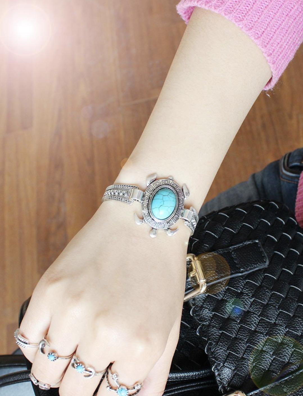 turquoise zinc bracelet turtle