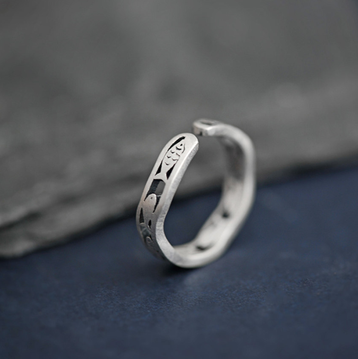 cute silver ring ocean lover