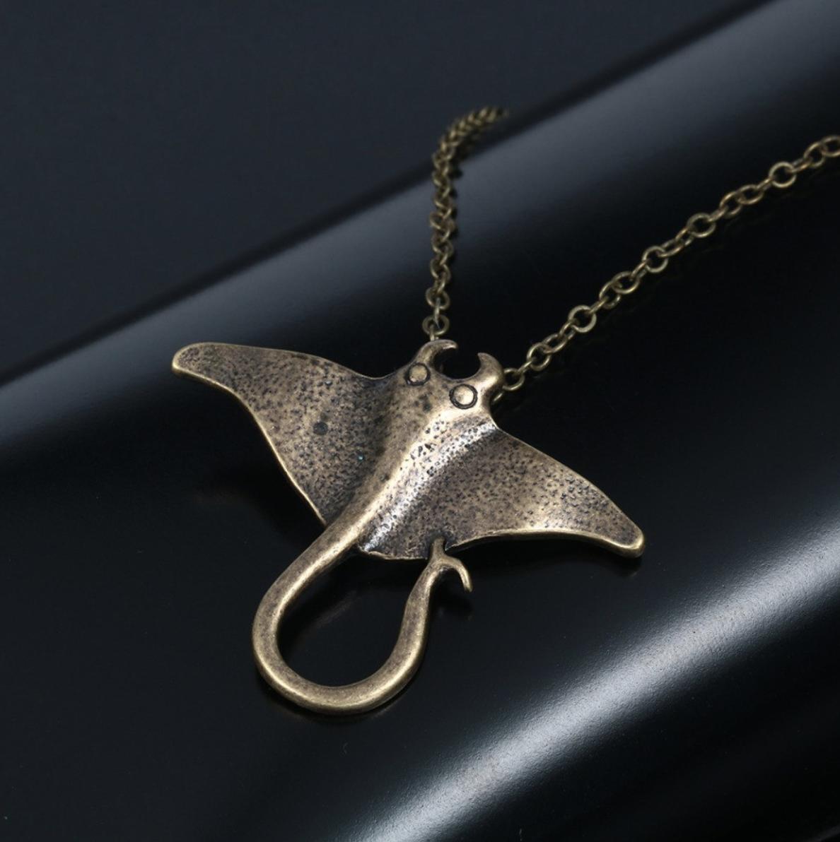 bronze necklace manta ray