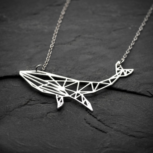whale origami style necklace