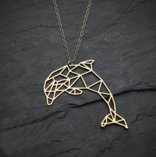 dolphin necklace gold