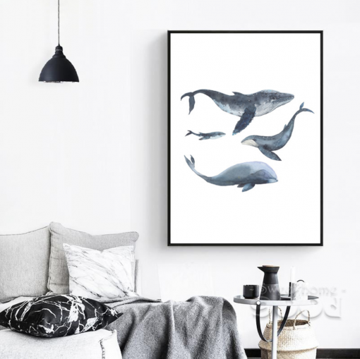 wtaercolor whale poster