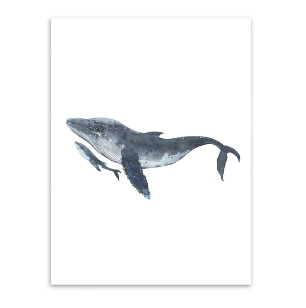 whales and baby watercolor