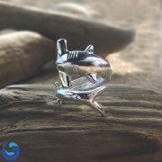 Silver hammerhead shark ring