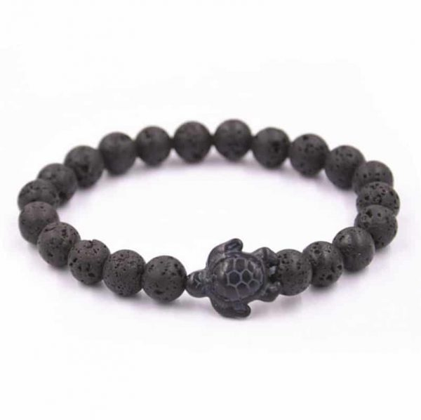 lava stone sea turtle bracelet