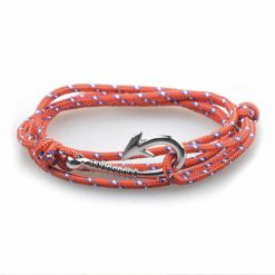 Orange paracord fish hook bracelet