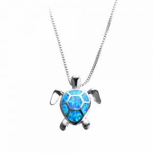 Blue Opal Sea Turtle Necklace
