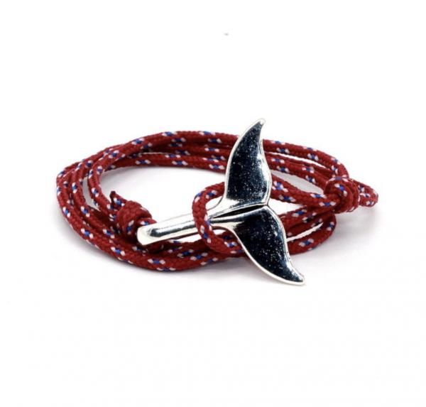 Paracord whale tail bracelet blue