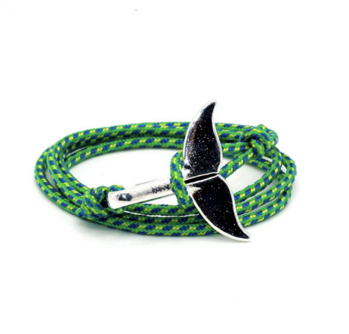 Paracord whale tail bracelet green