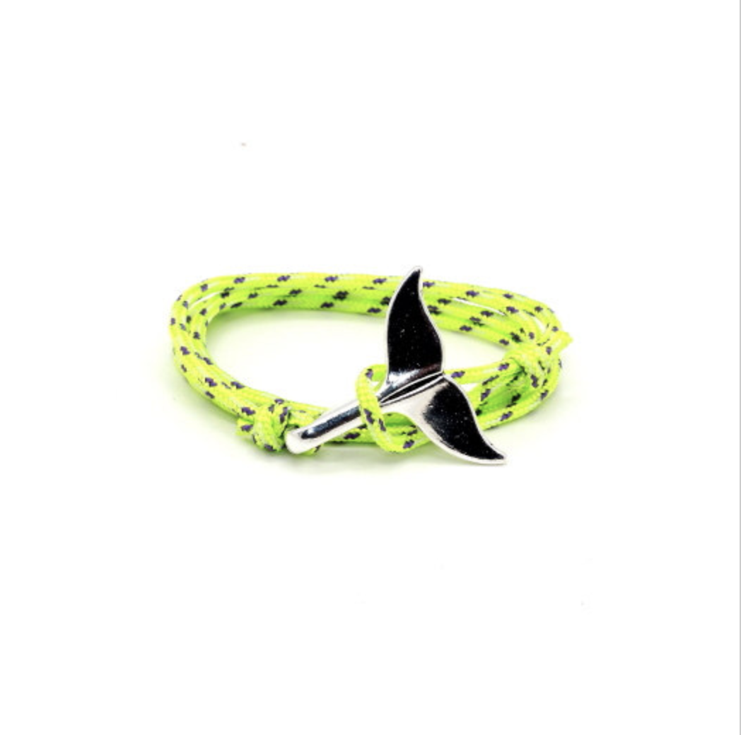 Paracord whale tail bracelet yellow