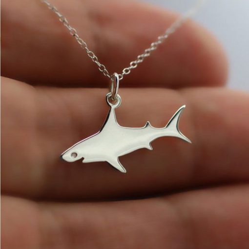 silver shark necklace