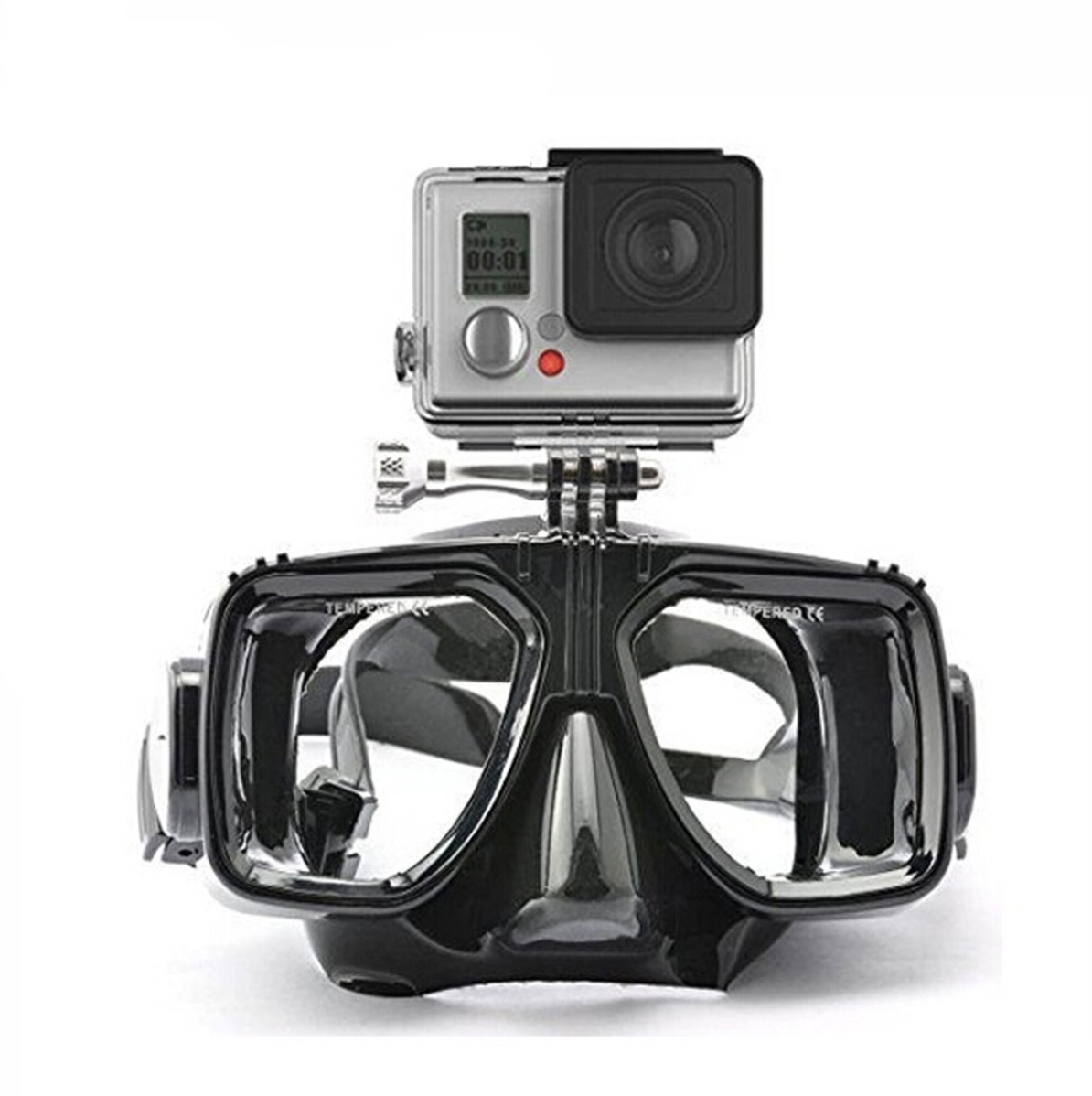 mask diving with go pro mount