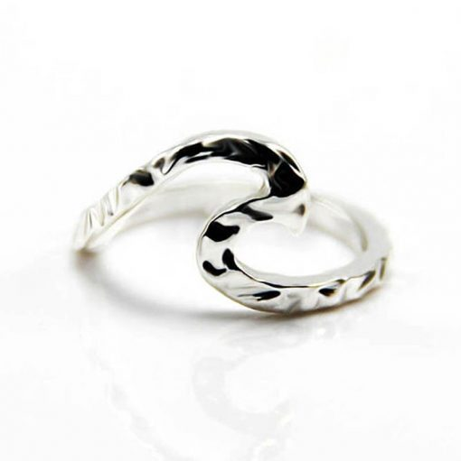 silver hammered wave ring