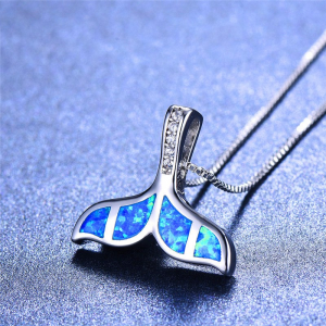 turquoise whale tail necklace