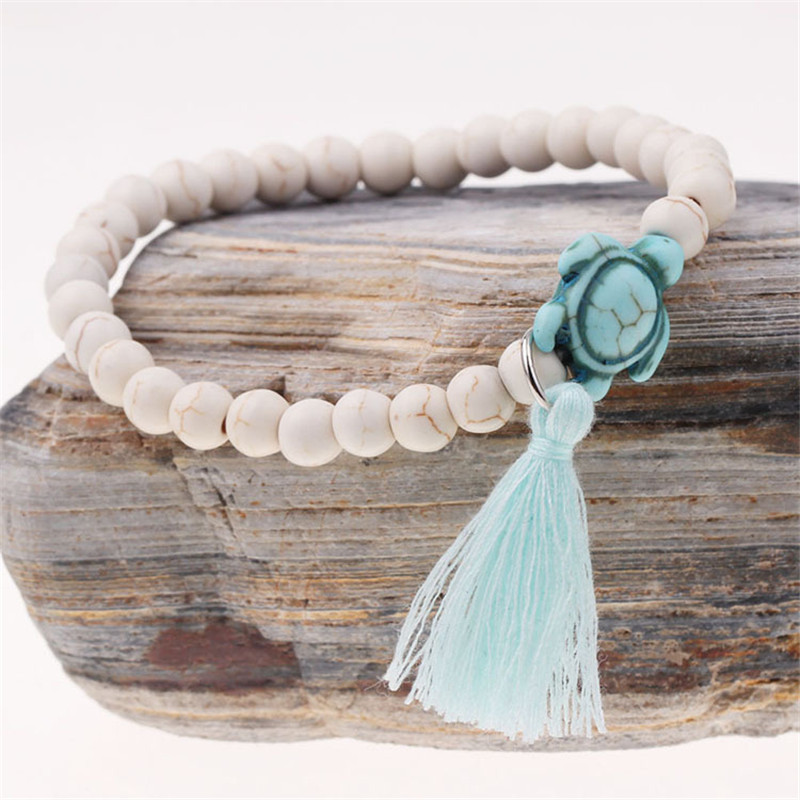 blue white sea turtle bracelet