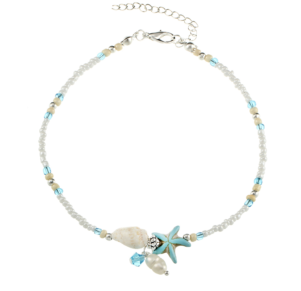 beach anklet with starfish, seashell
