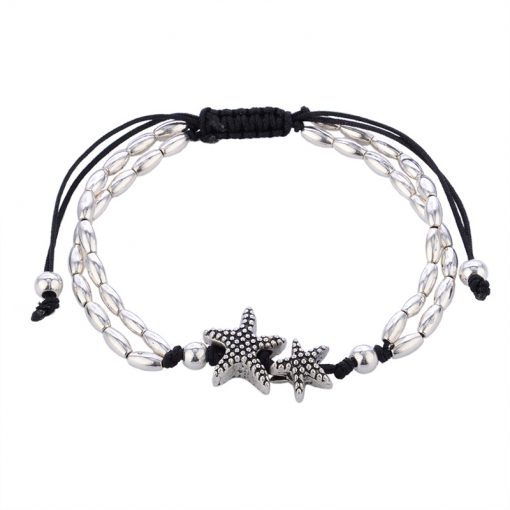 boho anklet starfish silver