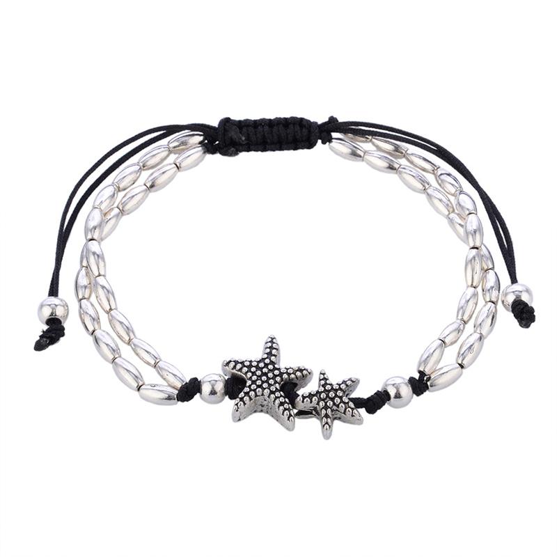 boho anklet starfish silver