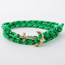 bracelet gold anchor green