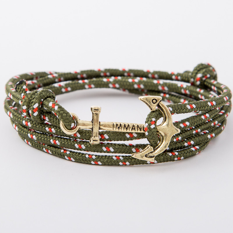bracelet gold anchor khaki