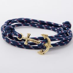 bracelet gold anchor navy blue