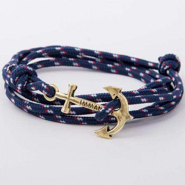 bracelet gold anchor navy blue