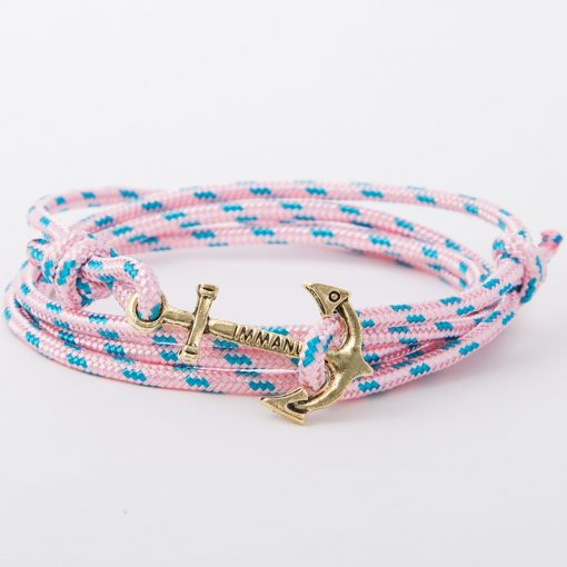 bracelet gold anchor pink