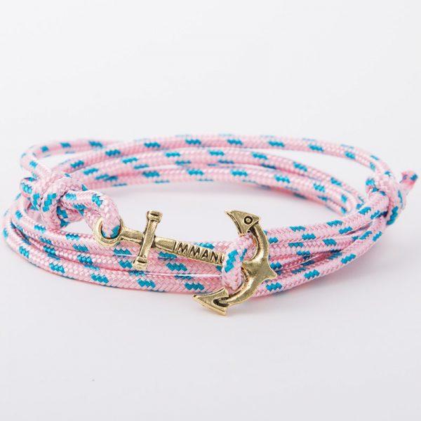 bracelet gold anchor pink