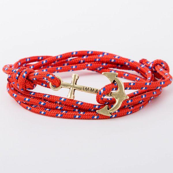 bracelet gold anchor red