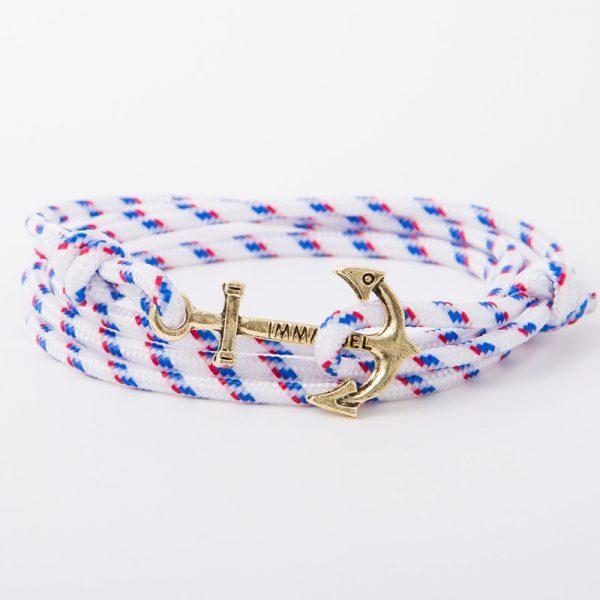 bracelet gold anchor white