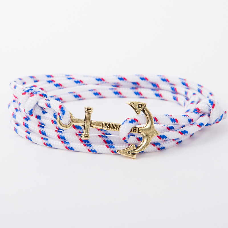 bracelet gold anchor white