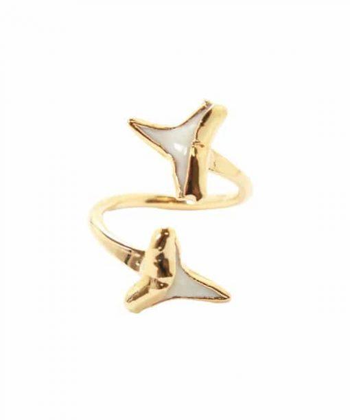 gold shark teeth ring
