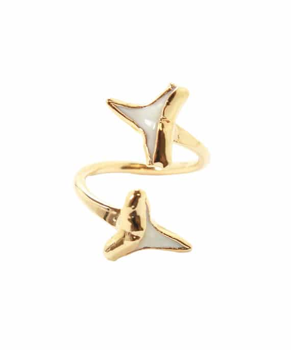 gold shark teeth ring