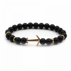 black bead anchor bracelet