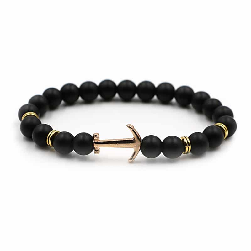 Black Bead Anchor Bracelet