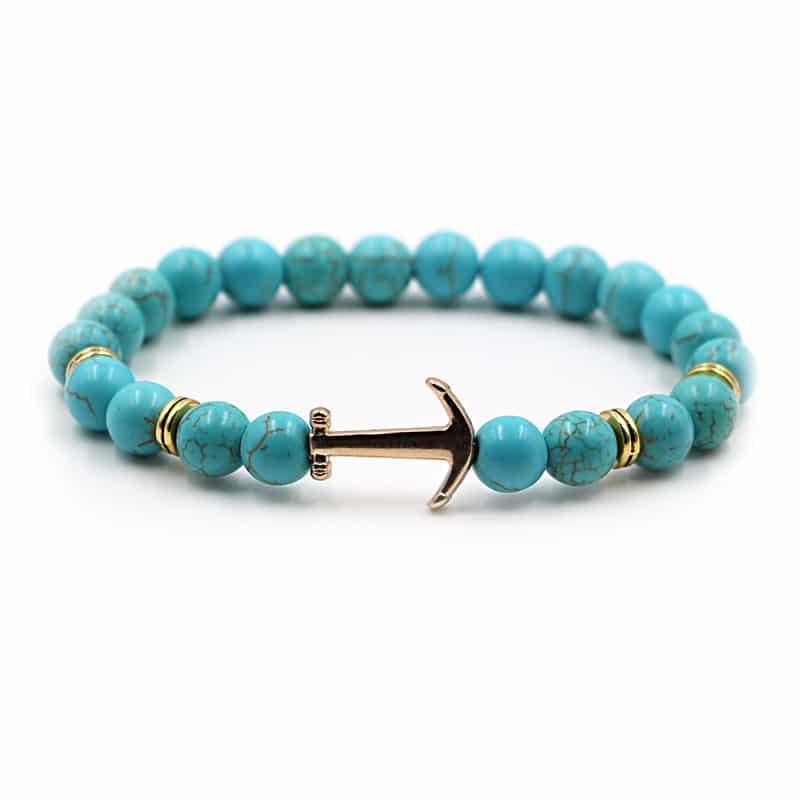 blue beaded anchor bracelet