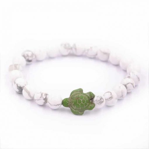 white beaded sea turtle bracelet