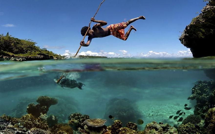 fishermen Half underwater picture