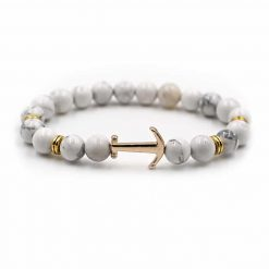 white bead anchor bracelet