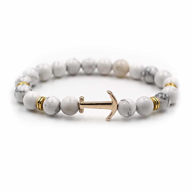 white bead anchor bracelet