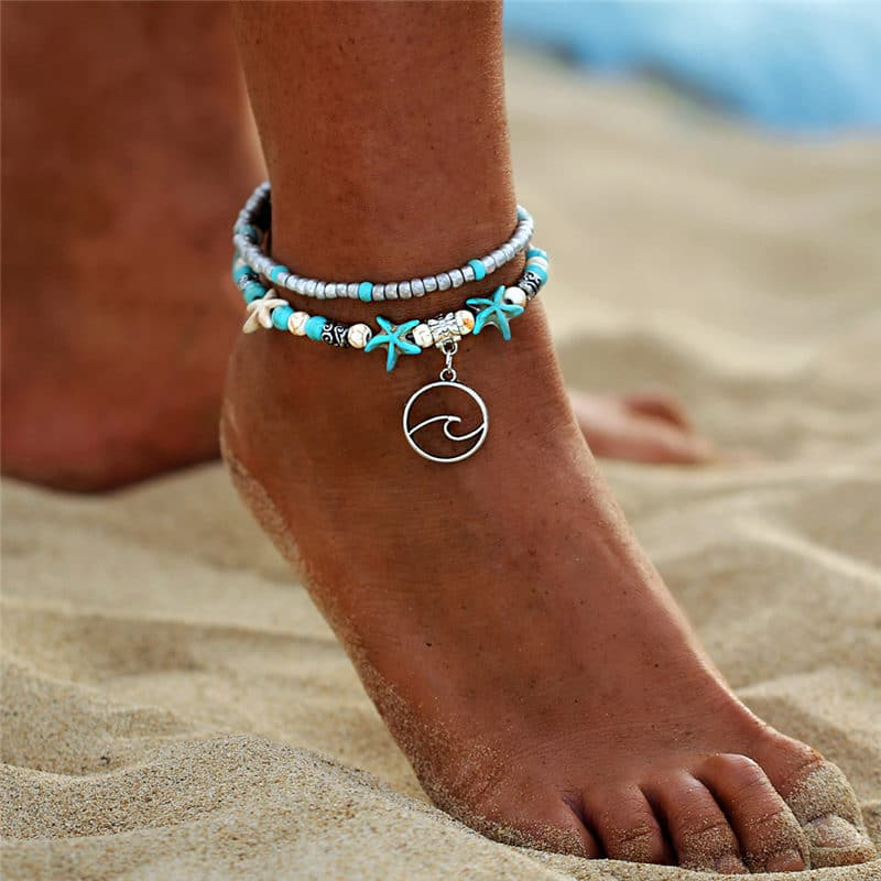 Wave bohemian anklet
