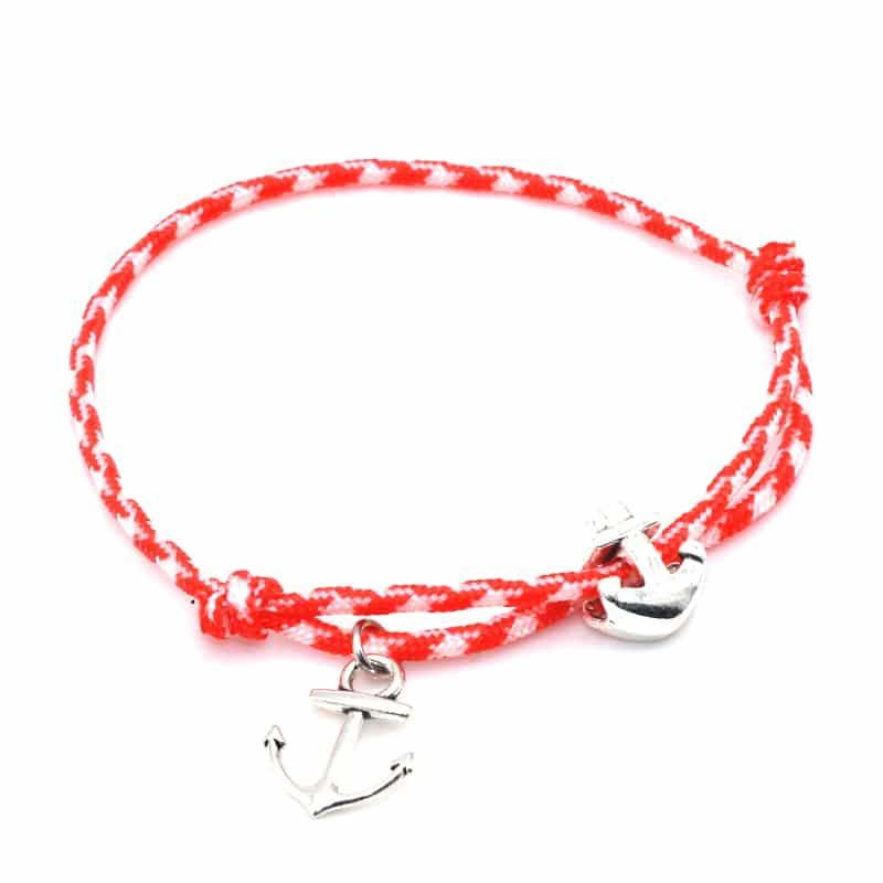 Salmon paracord anchor bracelet