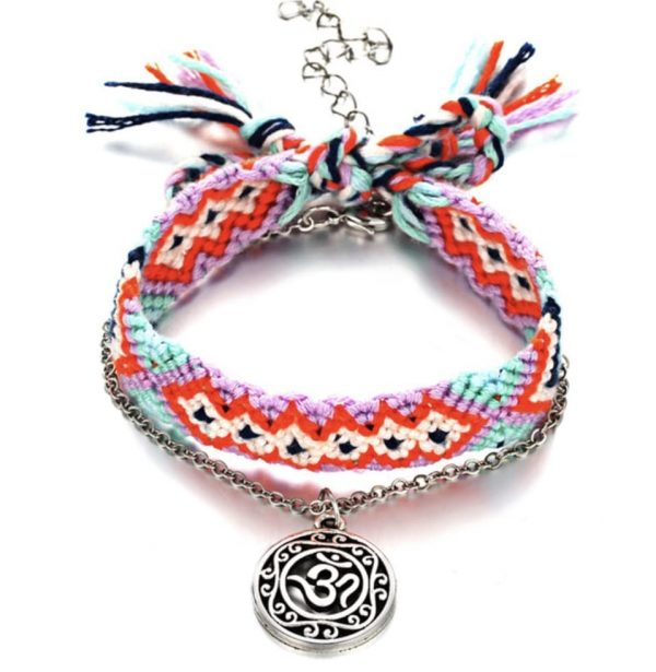 red bohemian anklet
