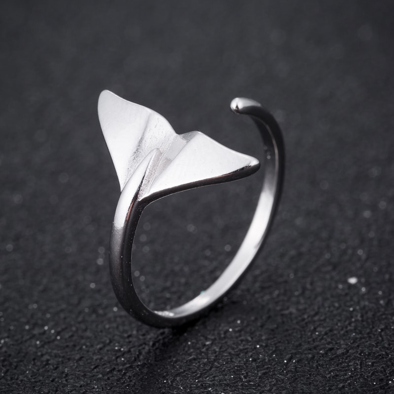 adjustable sterling silver whale tail ring