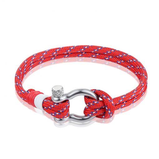 Red Paracord Shackle Bracelet