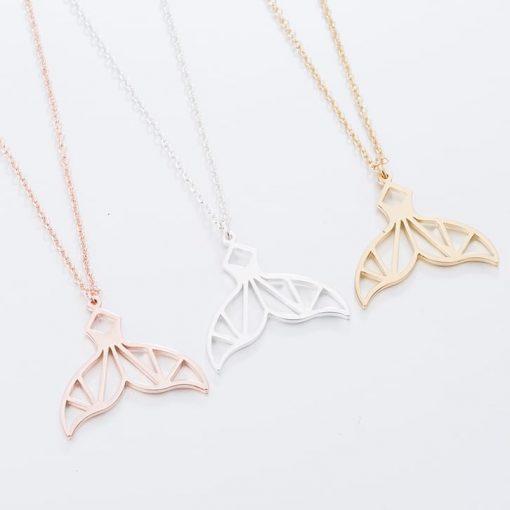 geometric whale tail necklace