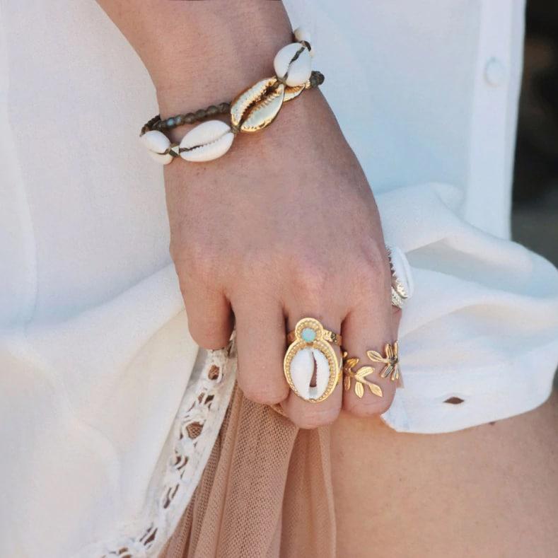Gold bohemian cowrie bracelet