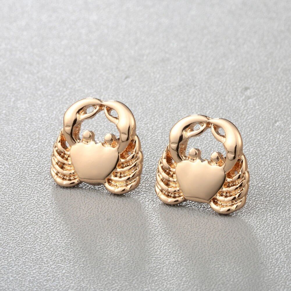 Gold crab earrings